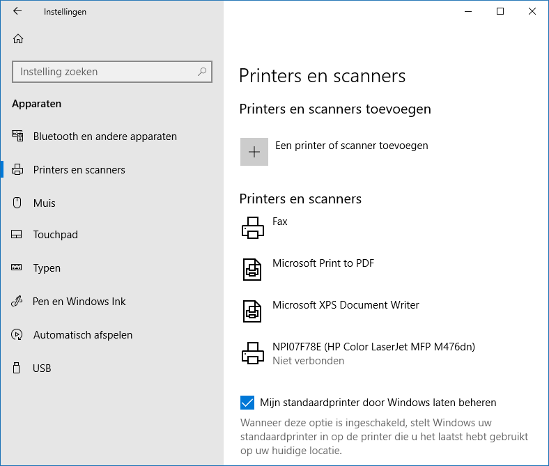 Windows 10 instellingen: onderdeel Apparaten, sub Printers en Scanners