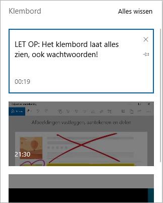 Klembord geheugen (Windows 10 Oktober 2018 Update)