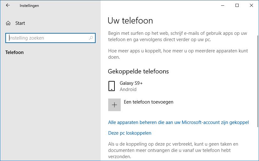 Koppeling Windows met telefoon maken
