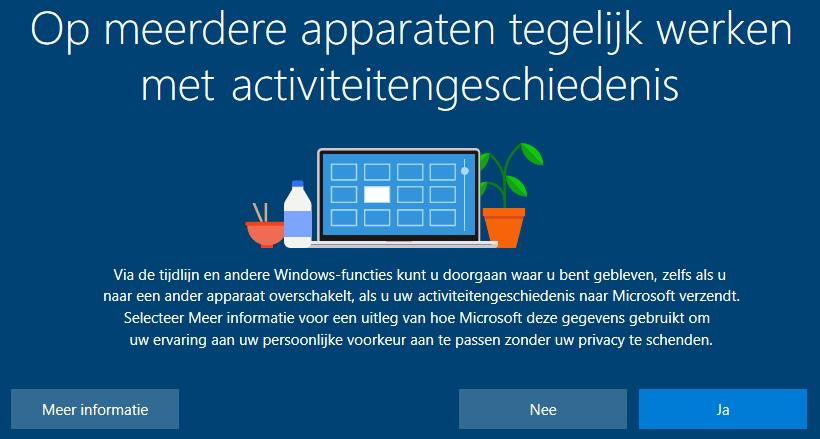 Activiteitengeschiedenis tijdlijn (setup Windows 10 Oktober 2018 Update)