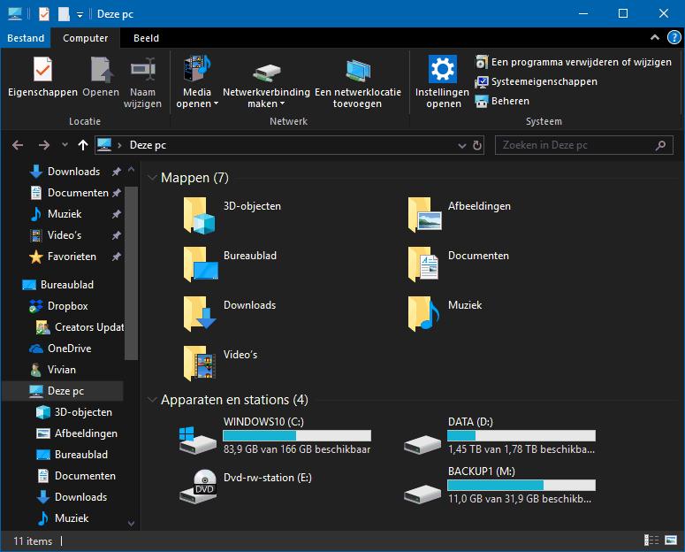 Windows Verkenner: donker thema