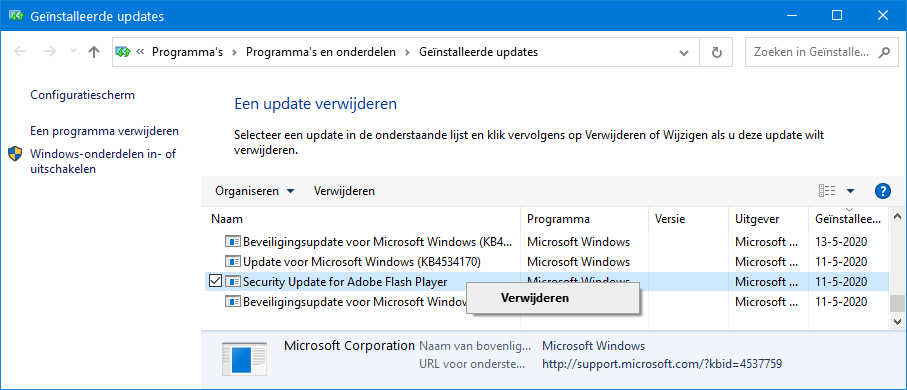 Windows Update: genstalleerde updates en onderdelen
