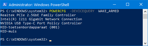 POWERCFG  -DEVICEQUERY  WAKE_ARMED