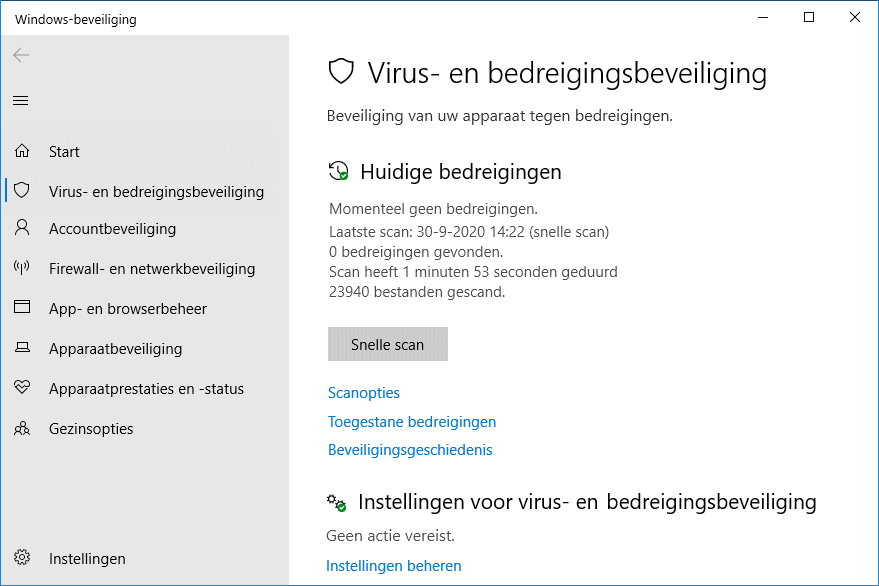 Windows Defender scan