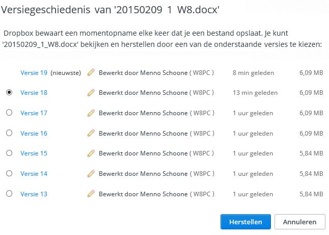 Oude versies van bestanden herstellen met Dropbox