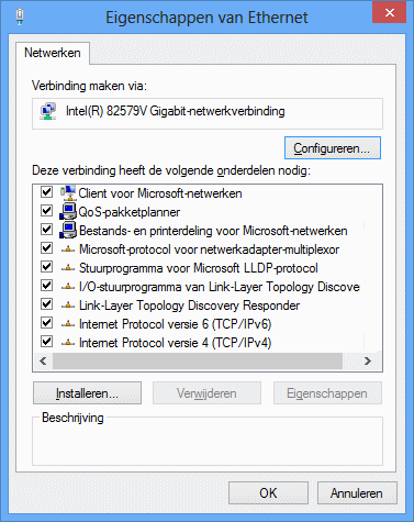 Eigenschappen netwerkverbinding Windows
