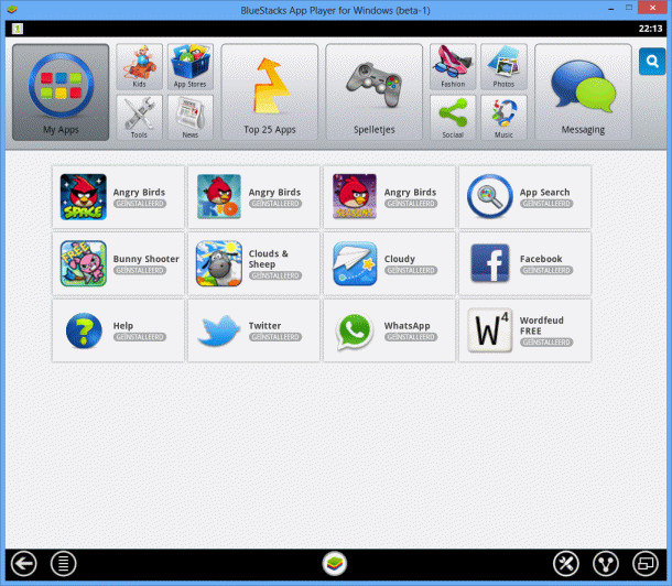 Android-apps op een Windows-computer (BlueStacks App Player)