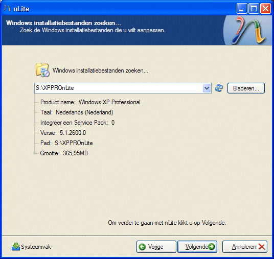 nLite: Windows installatie betanden inlezen.