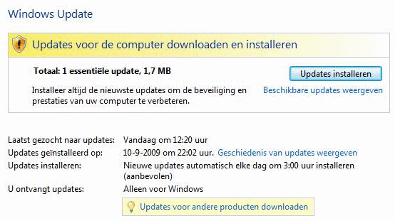 Windows Update downloaden en installeren met Windows Ultimate Extras