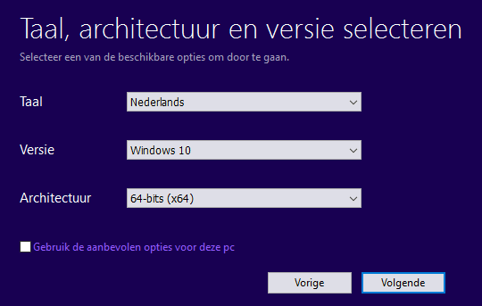 Installatiemedium maken: taal, versie en architectuur van de Windows 10 DVD of USB-stick