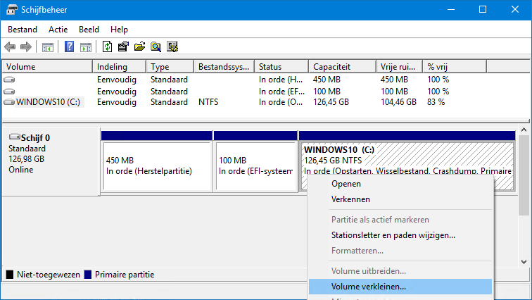 Actieve Partitie Wijzigen.Windows Systeempartitie Verkleinen
