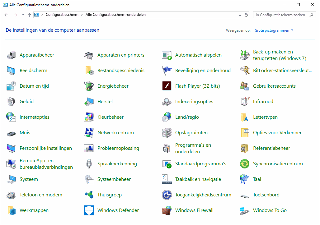 Windows 10 configuratiescherm