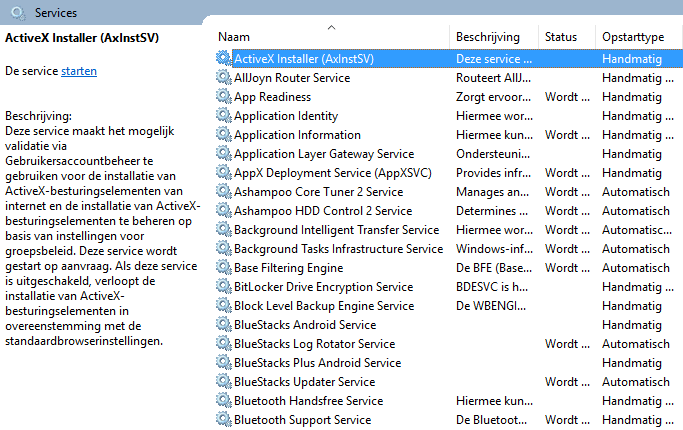 Het optimaliseren van de Windows services