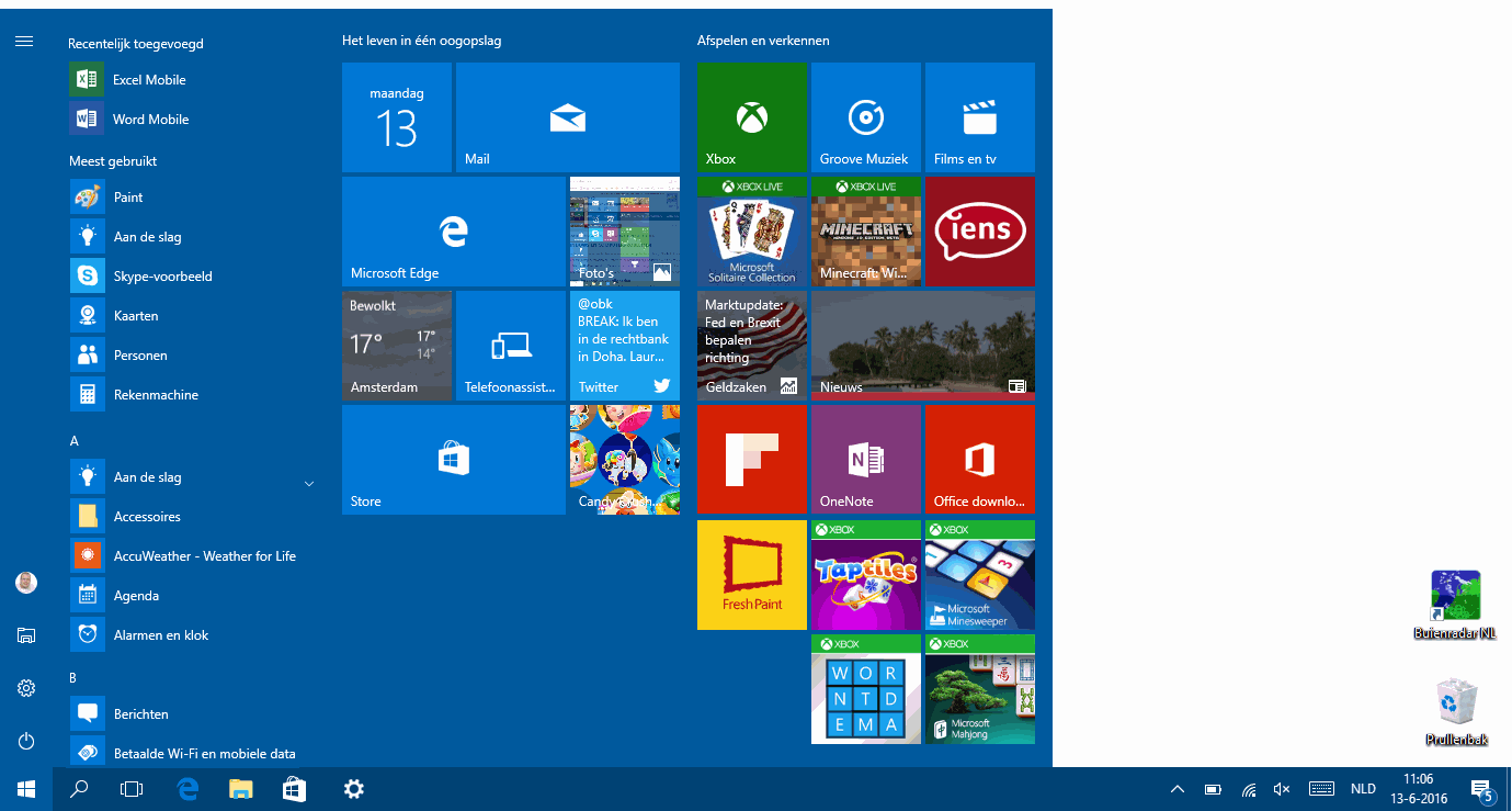 Windows 10 startmenu (desktopmodus vs tabletmodus)