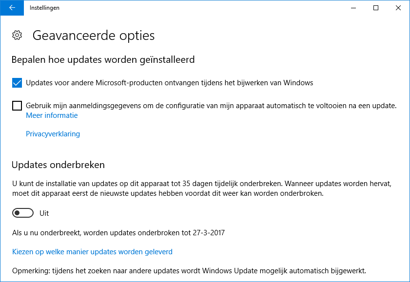 Windows Update (geavanceerde opties)
