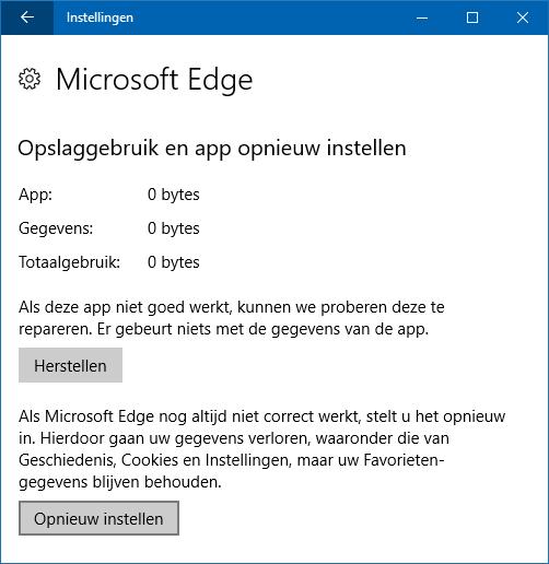 Herstellenresetten Standaard Instellingen Edge Internet Explorer