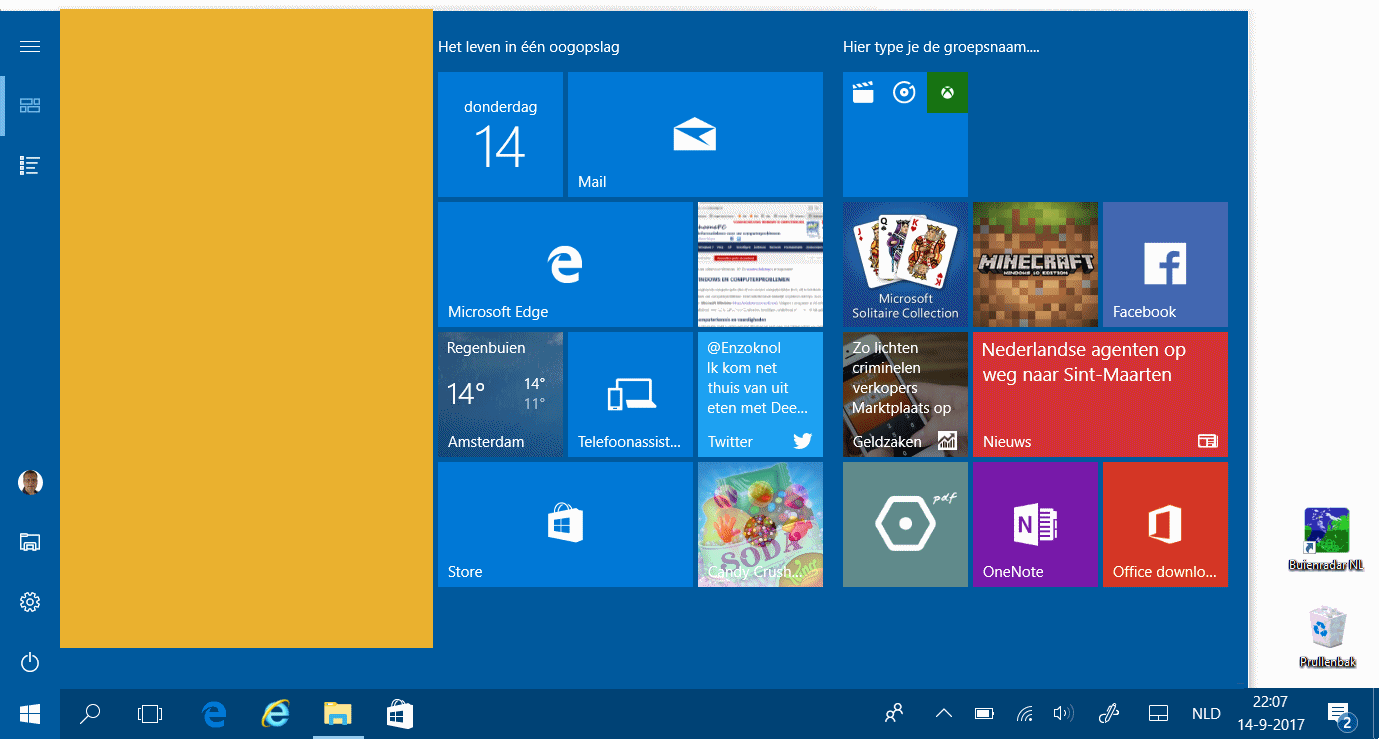 Windows 10 gebruikersinterface start tabletmodus win x for Windows 7 bureaublad