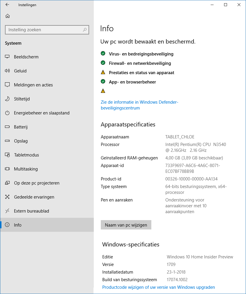 dbcaedba363873 Windows 10 instellingen: onderdeel Systeem, sub Info