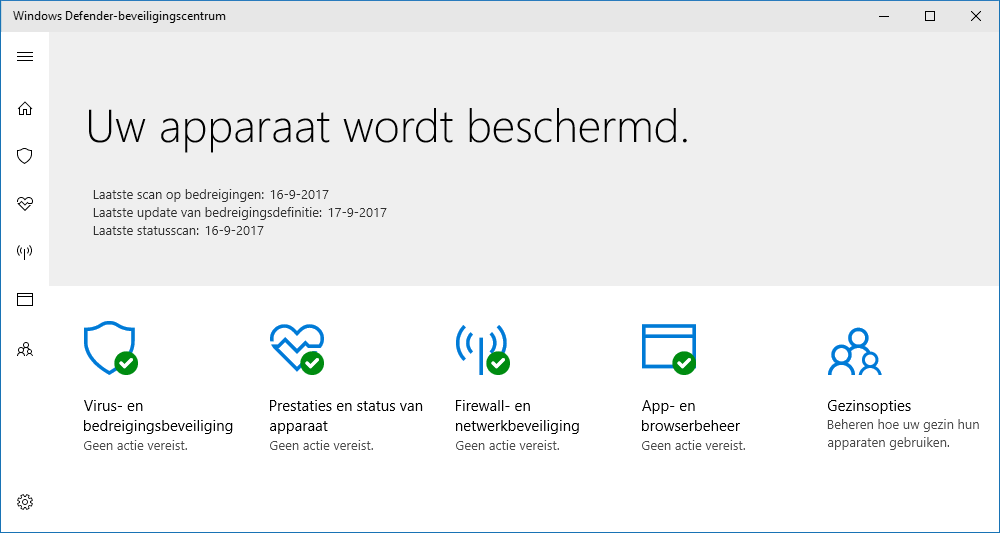 Windows Defender instellingen