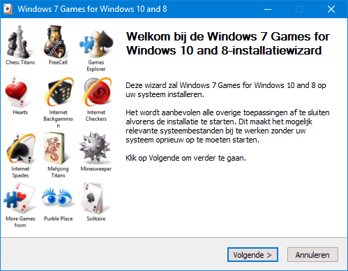 Windows 7 spellen: Mijnenvegen, Patience, FreeCell, Hartenjagen, Purble Place, Spider Solitaire, Chess Titans, Mahjong Titans, Backgammon, Checkers en Spades