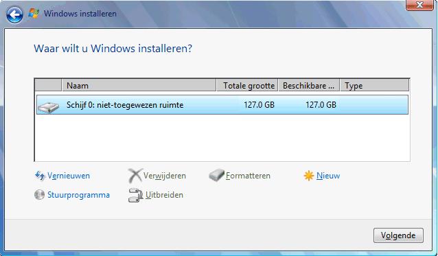 Installeren windows 7 de setup procedure - Een verwijderbare partitie maken ...