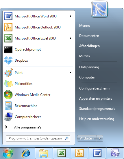 Windows 7 startmenu