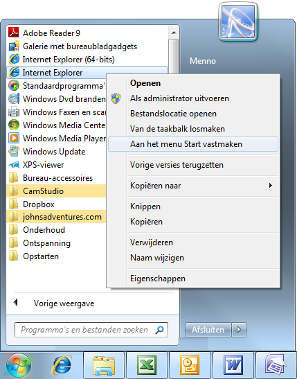 Menu start taakbalk en bureaublad in windows 7 for Windows 7 bureaublad
