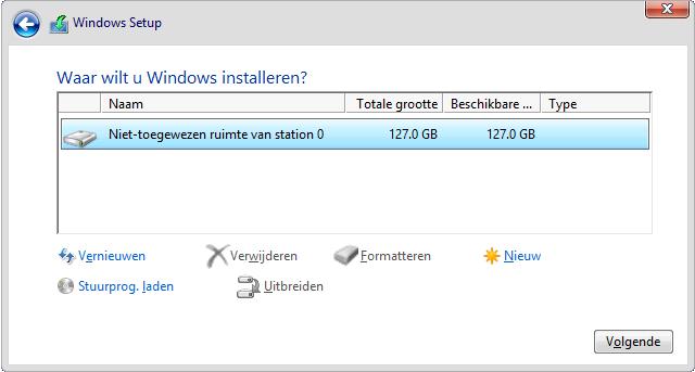 Schijf Partities Verwijderen.De Windows 10 Setup Procedure
